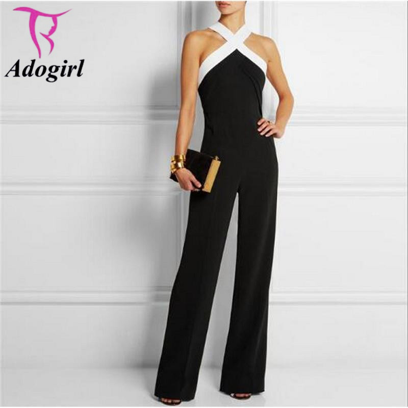 Sexy Off Shoulder   Jumpsuit   Halter Neck Elegant Ladies Slim Party Overalls Elegant Women   Jumpsuit   Sleeveless Night Club Rompers