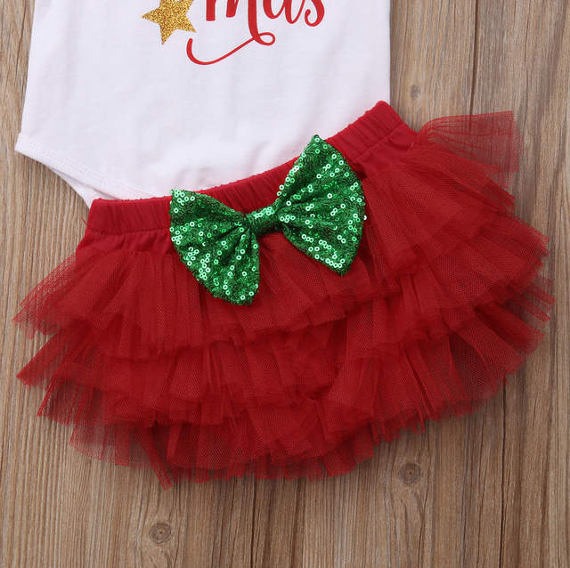 3b6f371d9efc7 Emmababy 2018 New Tollder Kid Baby Clothing Infant Girls My First Christmas  Outfits Romper Tutu Shorts Headband Clothes Sweet FX