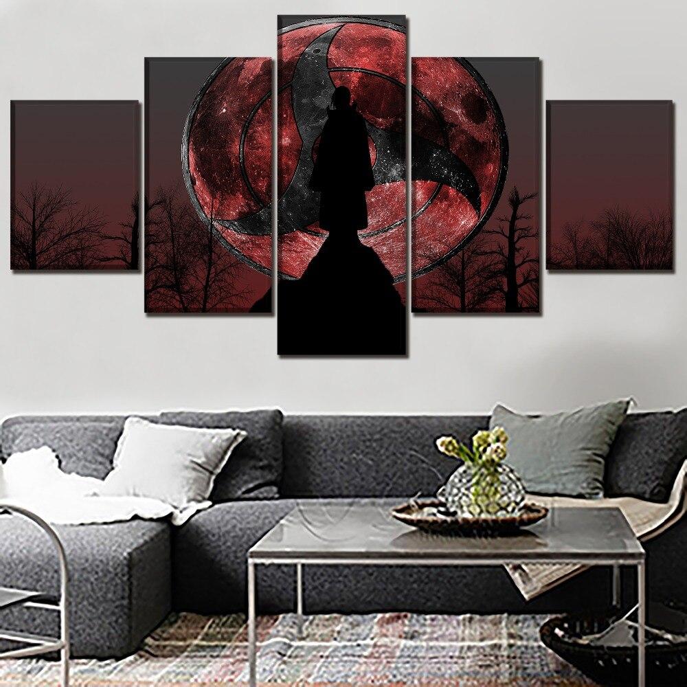 Art Décor: Modern Artwork 5 Panel Naruto Itachi Uchiha Poster Wall