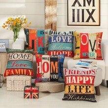Mediterranean Style Cushion Covers Colourful Stripe Letters Pillow 45cm*45cm Home Decorative Sofa Car Pillowcases