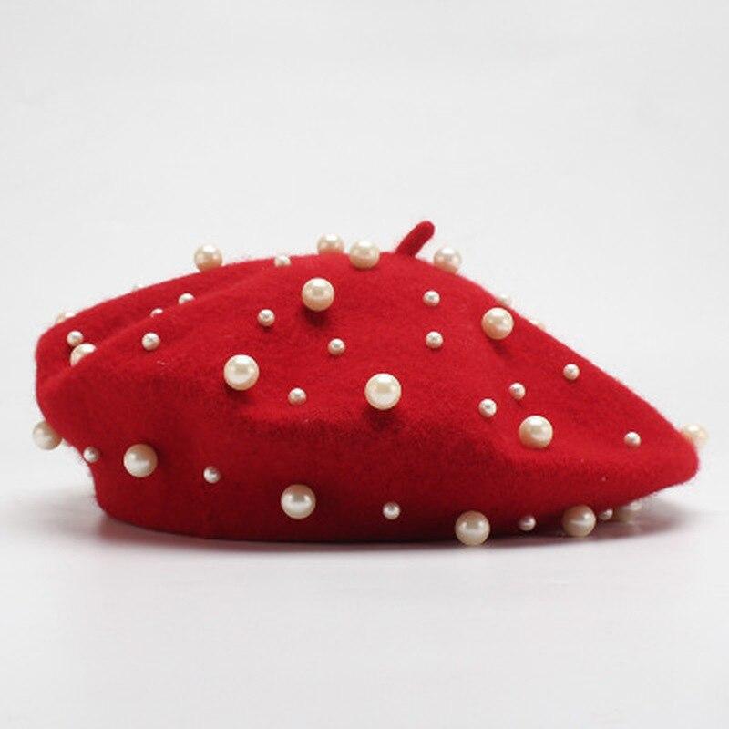 Fashion Pearl Berets Hat For Women Autumn Winter 100% Wool Felt Hats Beret Female