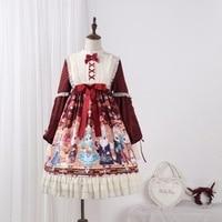 2019 Direct Selling Real Qiu Dong Original Showa Rabbit Op Lolita Skirt With Shoulder straps Dress Japanese Women's Clothing
