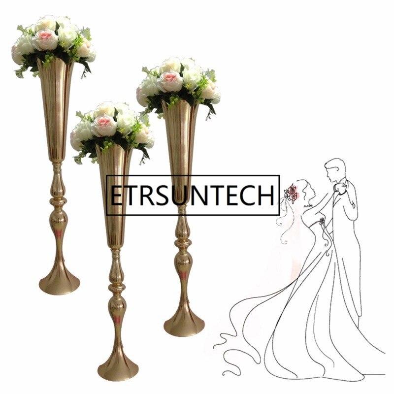 88cm / 34.6 Wedding Road Lead Flower Shelf Gold Table Stand for Wedding Centerpiece Decoration Flower Vase Column ZA4590