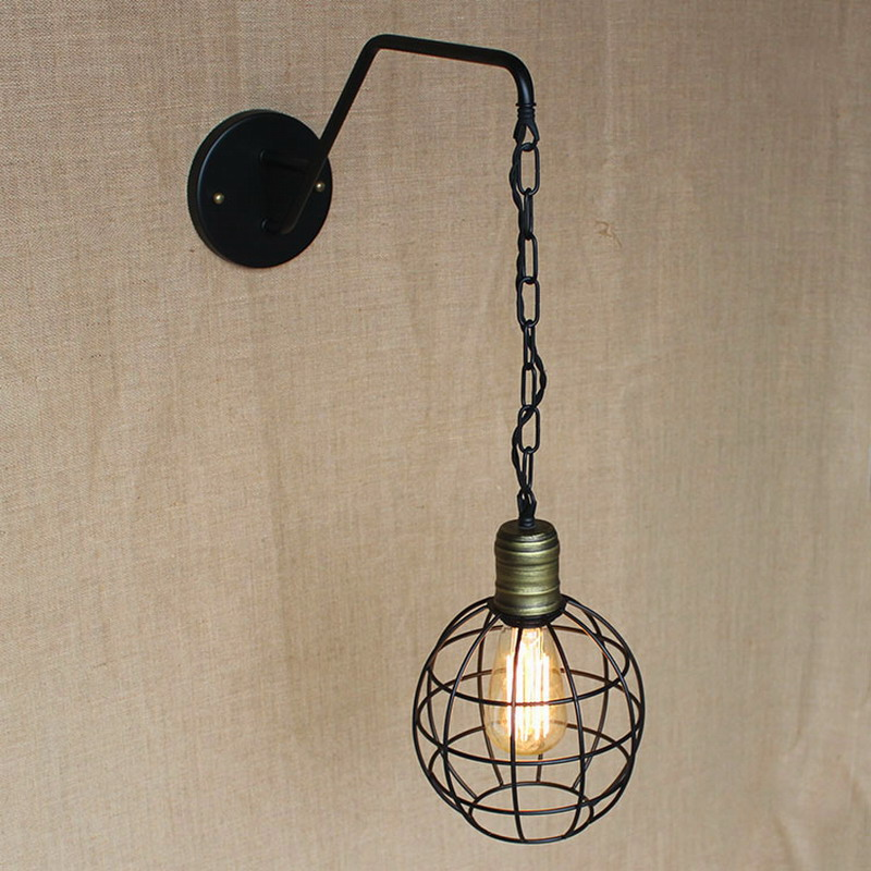 ФОТО new design antique retro black metal ball wall lamps with long chain for workroom bedside bedroom wall Lights