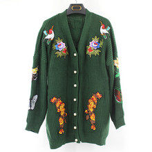 European and American big new autumn and winter 2016 women's Heavy embroidered tiger head loose sweater cardigan jacket