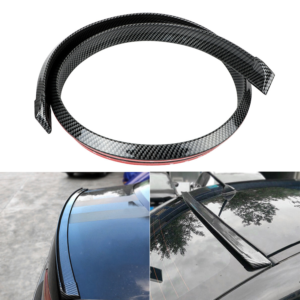 Carbon Fiber Soft Rubber Sticker Auto Trunk Spoiler 5ft Car Rear Roof Wing Lip Universal Bright Self Adhesive Trim Car styling