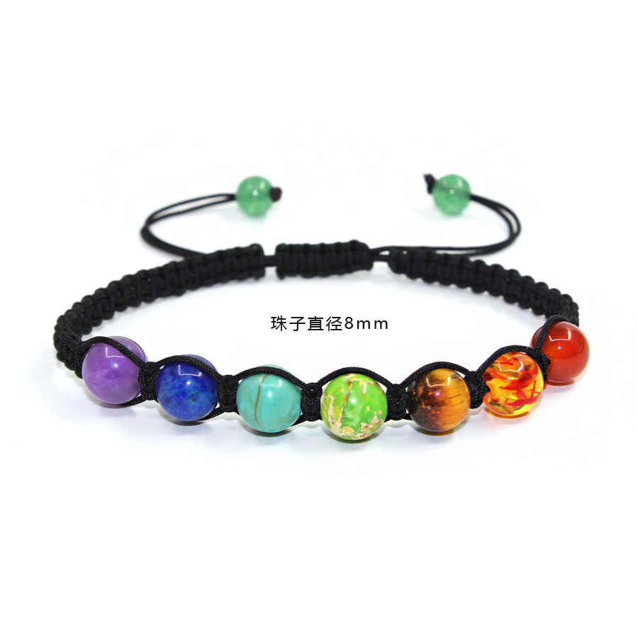 8mm natural stone lapis lazuli seven-color rainbow 7 chakra bracelets for women Best selling prayer balance bead bracelet