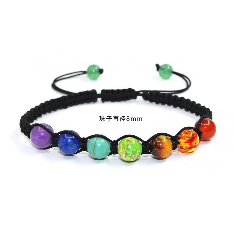 8mm Natural Stone Lapis Lazuli Sevencolor Rainbow 7 Chakra Bracelets Best Prayer Balance Bead Bracelet