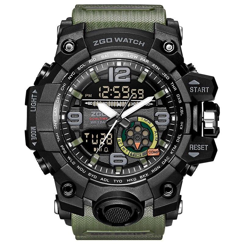 Zgo Men Military Watch 3 Bar Waterproof Wristwatch LED Quartz Clock Sport Watch Male relogios masculino erkek kol saati цена и фото