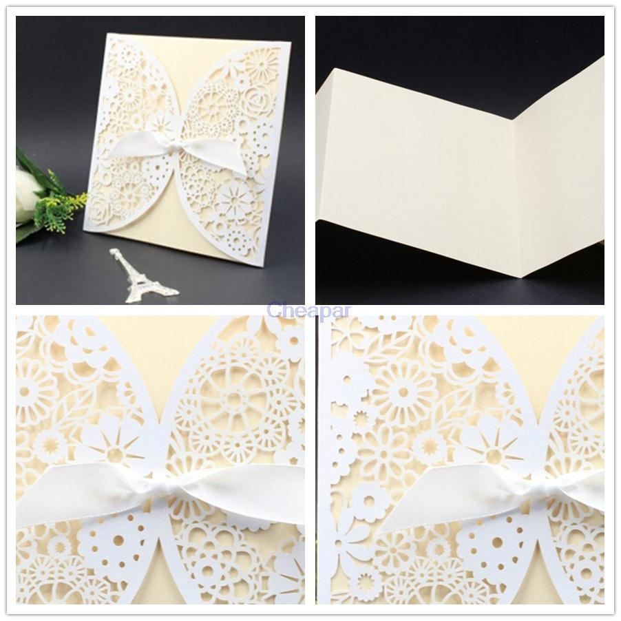 12Pcs/Lot Laser Cut Wedding Invitations Paper Cards Party Wihte Bow ...