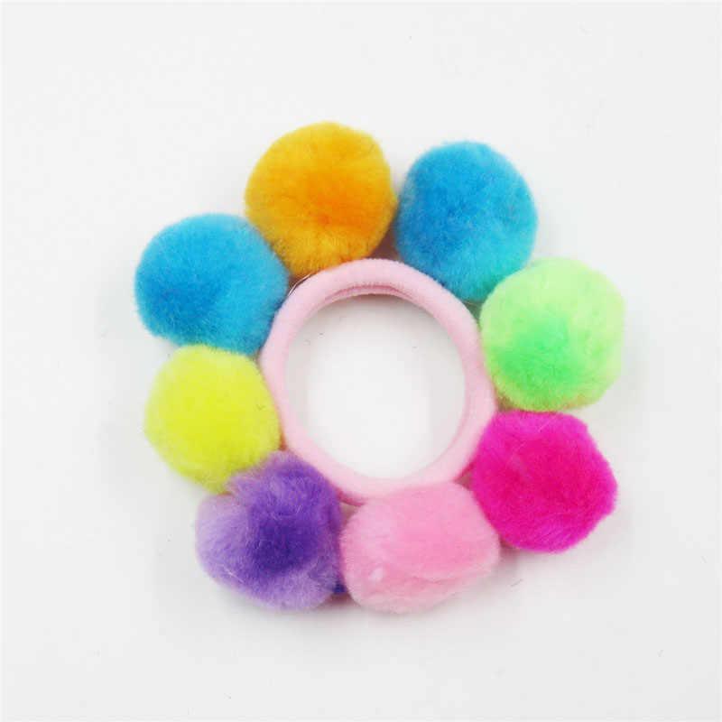 1 Uds. Bolas de pelo largo caramelo bandas elásticas para el cabello hecho a mano para niñas cinta para el pelo Scrunchy Niños Accesorios para el cabello para las mujeres 2018