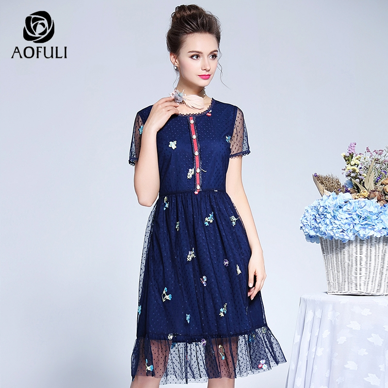 AOFULI L XXXL 4XL 5XL Plus Size Tulle Dress Women Mesh Embroidery Party Dress Summer Short