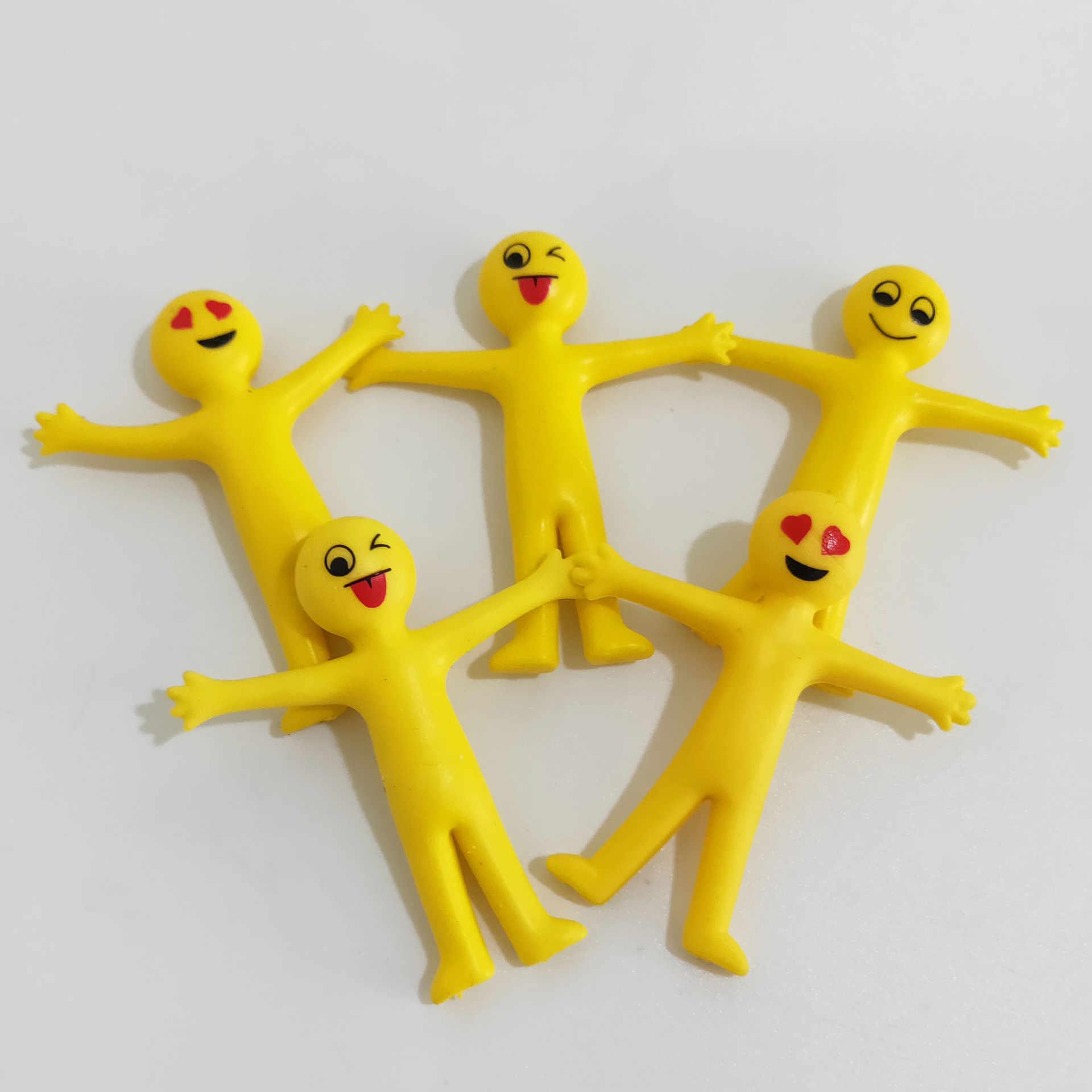 חידוש TPR רך דבק ביטוי צהוב איש קטן יכול למשוך קטן בובת צעצוע ארוז טוויסט ביצת צעצוע מצחיק גאדג 'טים צעצועים רטוב