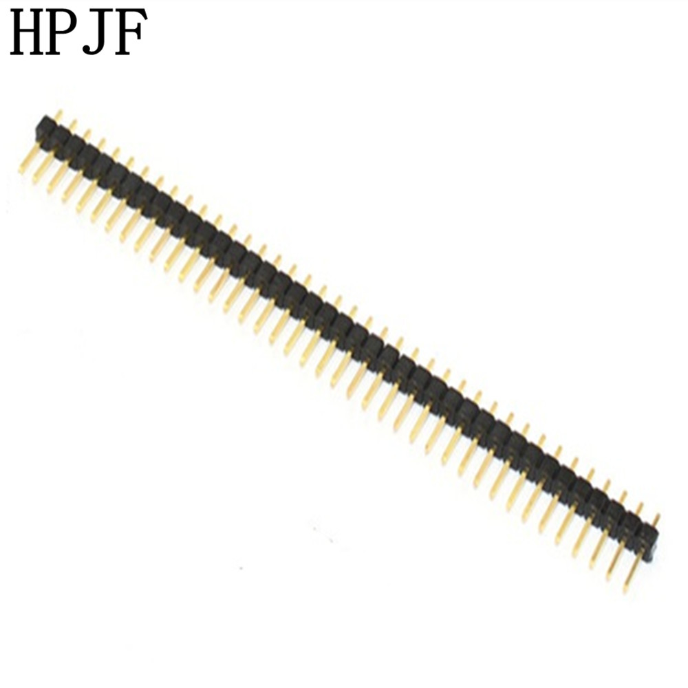 10Pcs Gold Plated Pitch 2.54mm 1x40 Pin 40 Pin Single Row Male Pin Header Strip Straight Needle Connector