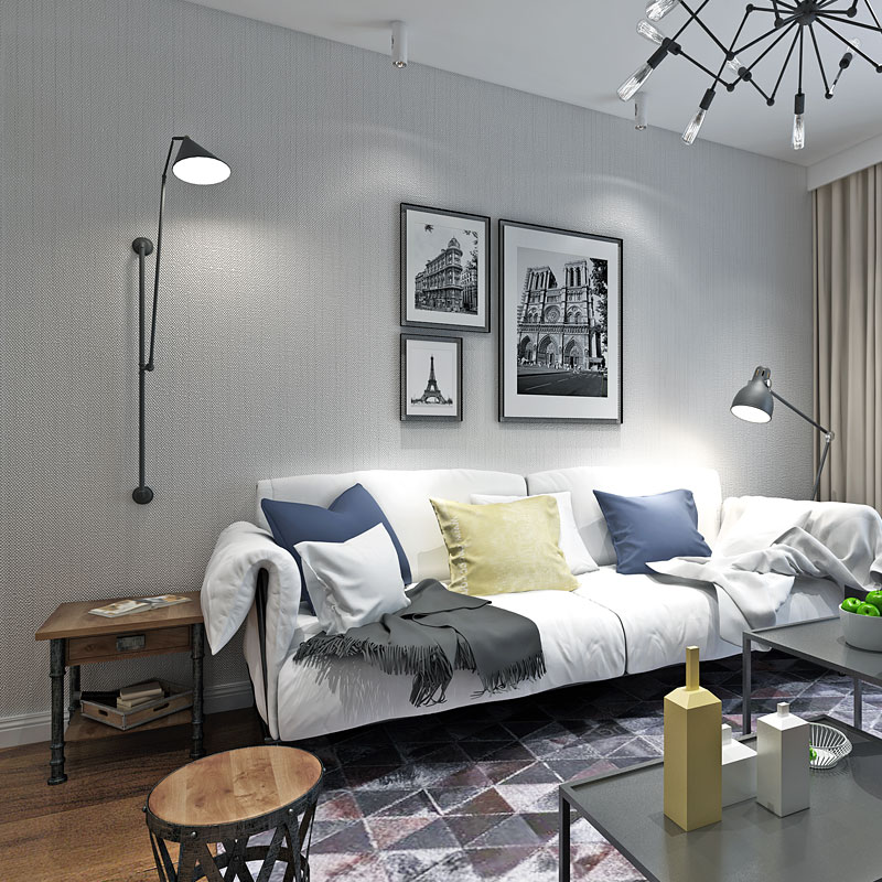 Modern Solid Color Dark Blue Grey Wallpaper Roll for Living Room Walls Bedroom Home Improvement ...