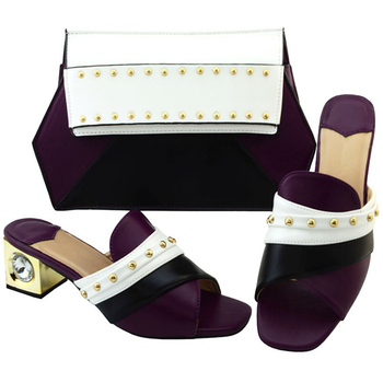 Women Shoes and Bag Set Decorated with Rhinestone