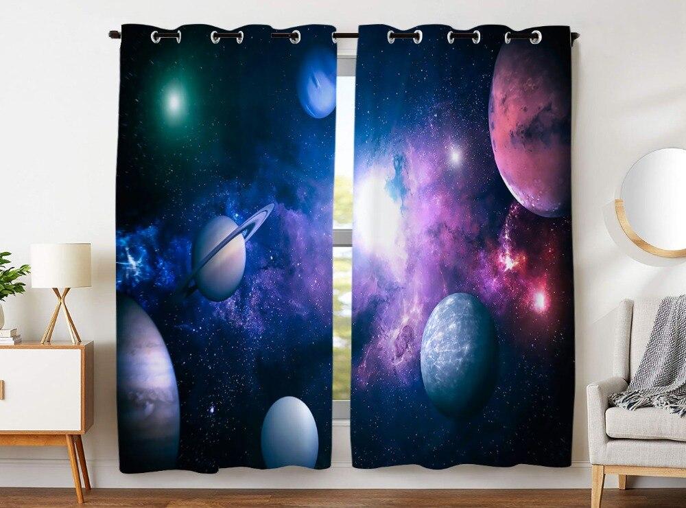 HommomH rideaux (2 panneau) passe-fil obscurcissant chambre système solaire planète bel univers