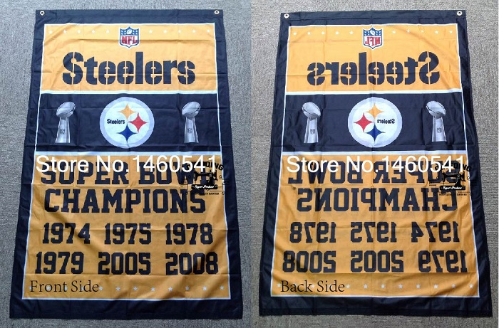 Pittsburgh Steelers Super Bowl Champions Flag 3ft x 5ft Polyester NFL Banner Flying Size No.4 144* 96cm QingQing Flag