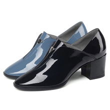 2019 High-end brand-name cow patent leather British style thick with women's single shoes round head leather high heels women brand name first layer cowhide deep mouth women s shoes thick with leather women shoes british rhinestone high heels women