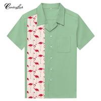 Hot Sale Cotton Men Shirt Camisa Social Masculina Pink Flamingo Printing Panel Hawaiian Shirts Rock Casual