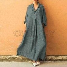 Bohemian Women dress Autumn summer Plus Size Long Sleeve V-Neck Cotton and Linen Maxi Dress Ankle-Length casual UK