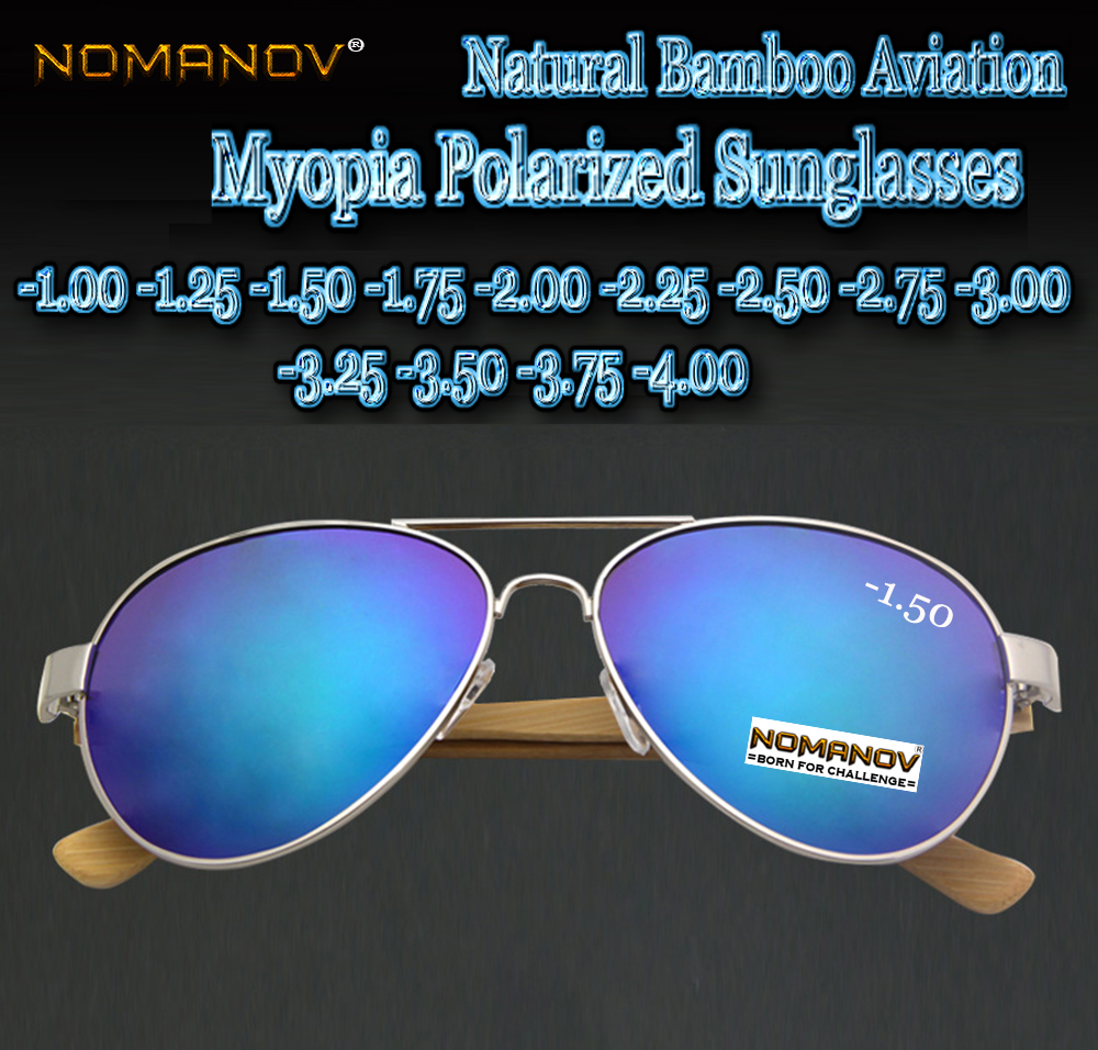2018 Natural Bamboo Legs Custom Made Prescription Myopia Colorful Polarized Sunglasses -1 -1.25 -1.75 -1.5 -2 -2.25 -2.75 To -4