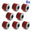 8 unidades/pacote Vermelho Filtro de Óleo Para CRF150F CRF150R CRF250R CRF250X CRF450R CRF450X TRX450ER TRX450R CRF150RB Bicicleta Da Sujeira