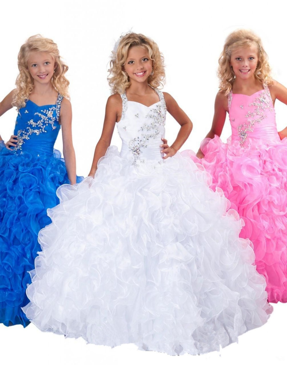 2019 Crystal   Girl's   Pageant Gowns Ball Gown Halter Floor Length Organza Beaded Ruffles Blue   Flower     Girl     Dresses
