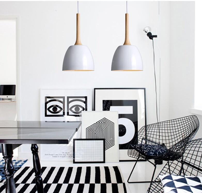 Creative Nordic Wood+Aluminum Pendant Light Single-head Modern Simplicity Style Bar Restaurant Foyer Dining Room Lighting Lamp