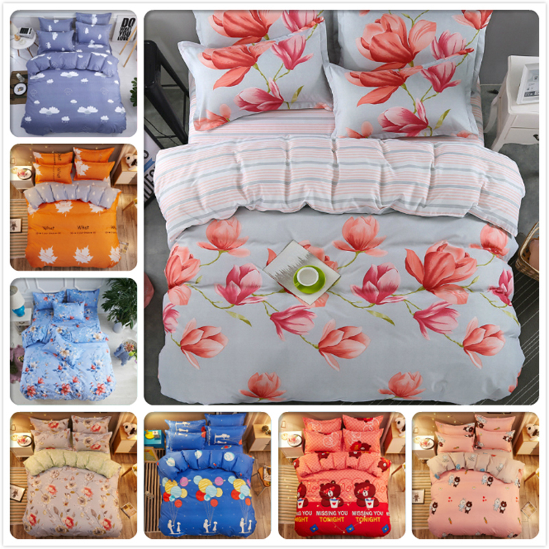 Flower Stripe AB Side Duvet Cover Soft Cotton Bedding Set 3/4 pcs Kids Child Bed Linen Single Twin Queen King Size Double 2/2.2m