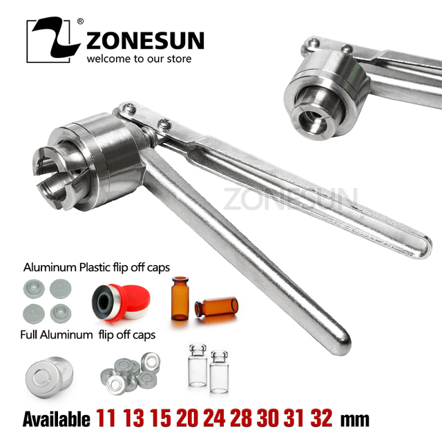ZONESUN Vial Crimper 13 20mm Glass Bottle Sealing Machine Manual Stainless Steel Vial Crimpers Hand Sealing Tool