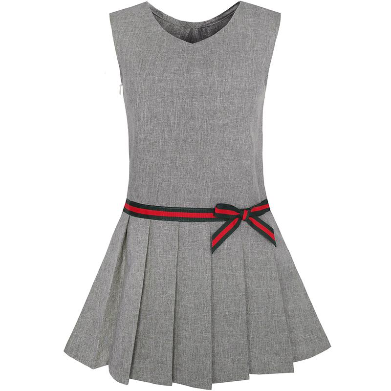 Sunny Fashion Girls Dress Gray School Uniform Pleated Dress 2017 Summer Princess Wedding Party Dresses Clothes Size 4-12 sunny fashion girls dress dimensional flower butterfly bow tie party 2017 summer princess wedding dresses clothes size 4 10