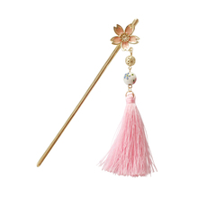 2019 New Hot Fashion Sakura Flower Tassels Hollow Ball Japan And Korea Style Trendy Hairwear Women Jewelry Hair Sticks 3195