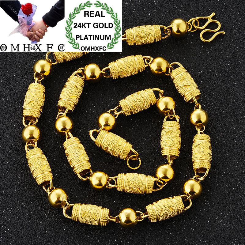 OMHXFC Wholesale European Fashion Man Male Party Wedding Gift Long 50cm Thick Beads Cylinder Real 24KT Gold Chain Necklace NL41OMHXFC Wholesale European Fashion Man Male Party Wedding Gift Long 50cm Thick Beads Cylinder Real 24KT Gold Chain Necklace NL41