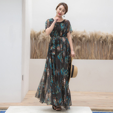 Colorful Floral Printed Chiffon Long Maxi Dress Free and loose Beach  Wedding Long Flowy Dress with Sleeves Plus size Sundress bc61bdeee9b5