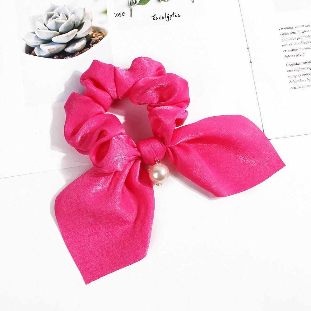 Nouveau mousseline de soie Bowknot élastique bandes de cheveux pour les femmes filles perle chouchous bandeau cheveux cravates élastique pour queue de cheval accessoires de cheveux 29