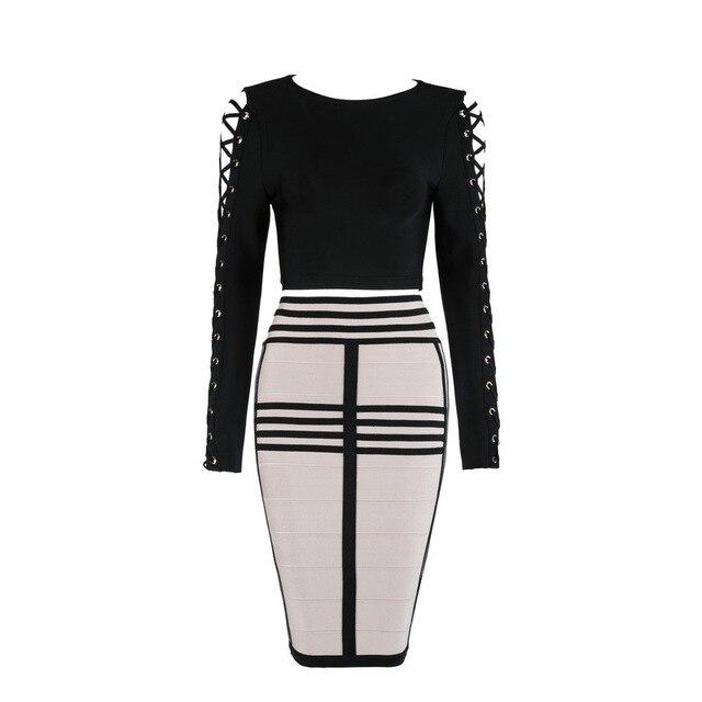 2017 sexy mode en gros de haute qualité noir et nu à manches longues 2 pièce bandage robe hiver femmes moulante robes L-727