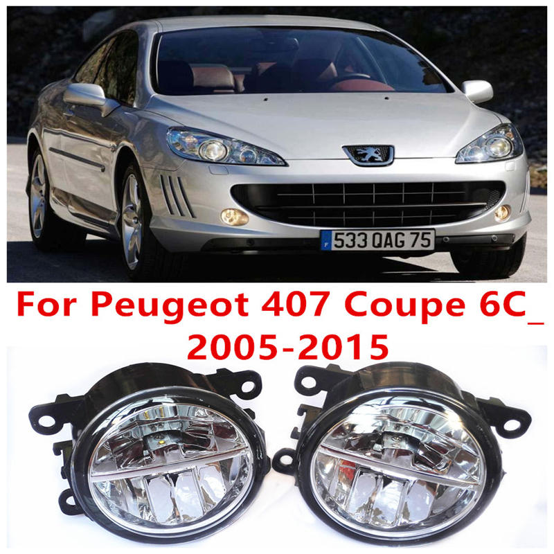 ФОТО For Peugeot 407 Coupe 6C_  2005-2015 Fog Lamps LED Car Styling 10W Yellow White 2016 new lights