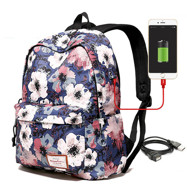 36175f2c6bac US $10.5 37% OFF|2019 Fashion Nylon Backpack Laptop Packing Cubes USB  interface Mini School Bag For Girls Lady's Travel Organizer Bolso  Mochila-in ...
