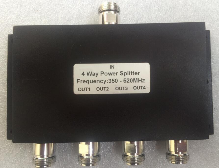 UHF 4 voies RF séparateur de puissance 350-520 MHz 50 W quatre voies radio diviseur de puissance répéteur combinateur N connecteur femelle