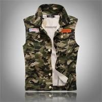New Brand Fashion Mens Camouflage Denim Vests Military Sleeveless Jeans Jackets Casual Male Vest Camo Waistcoats