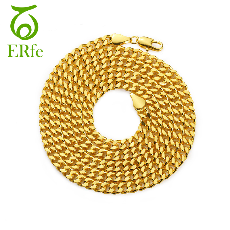 ER 5mm Copper Cuban Curb Link Chains Ncklace Heavy Gold Filled Necklace Men Hiphop Jewel ...