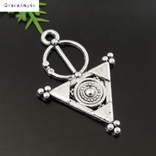20PCS New Fashion Hot Wholesale Antique Silver Alloy Triangle Circle Jewelry Accessories Pendant Charm 39421