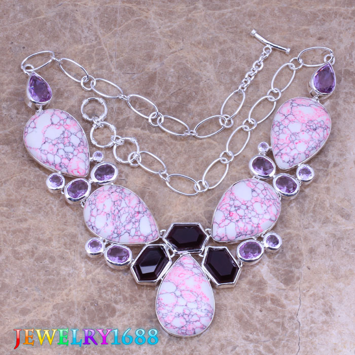Pretty Pink Natural Stone Purple Cubic Zirconia 925 Sterling Silver Grade Necklace L703