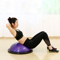 58cm Yoga Balance Ball Gym Workout Trainer Pilates Half Yoga Ball Fitball With Resistance Bands & Pump for Exercises Training