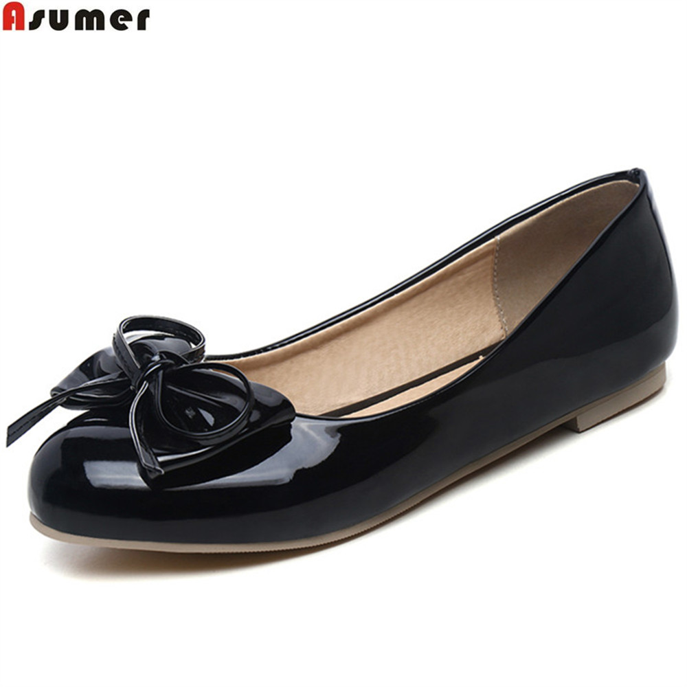 ASUMER black green blue pink fashion spring autumn new ladies shoes round toe shallow casual women flat shoes plus size 32-47 new 2017 spring summer women shoes pointed toe high quality brand fashion womens flats ladies plus size 41 sweet flock t179