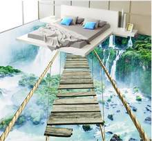 3d stereoscopic lantai wallpaper Air Terjun Petualangan Tali Jembatan Kayu 3d lantai kustom vinyl wallpaper(China)