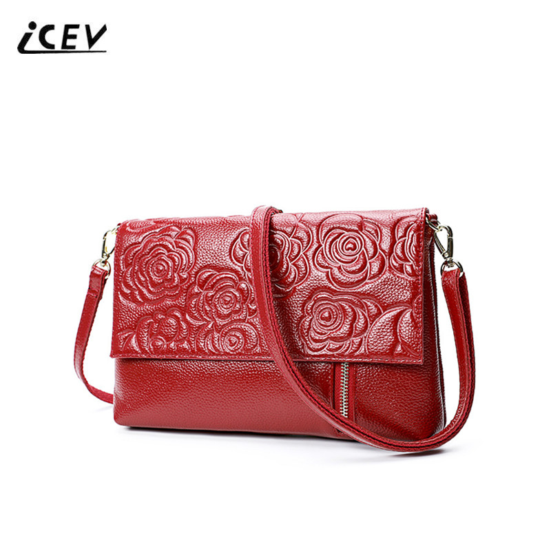 ICEV New Fashion Simple Genuine Leather Bags Handbags Women Famous Brands Women Leather Handbags Flower Ladies Office Totes Sac icev new fashion europe style genuine leather handbags alligator women leather handbags bags handbags women famous brands bolsa