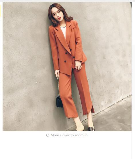Spring new 2018fashion brand Korean small suit + pants women's suit wide leg trousers two pieces sets wj365