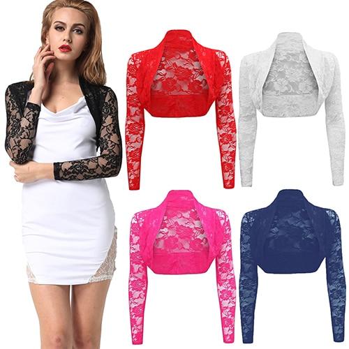 Women s Fashion Sexy Hollow Lace Short Cardigan Coat Cropped Long Sleeve Shrug